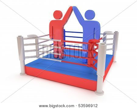 Two men on boxing ring