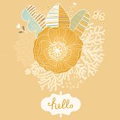 Bright vintage card in vector. Floral background made of leafs, corals, poppy flower and butterflies