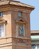 stock photo of mater  - mosaic of the Madonna made by Pope John Paul II on the wall of Vatican City in St - JPG