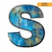 art sketched stylization alphabet in vector, colorful font, sign S