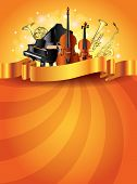 Musical Instruments Golden Vector Background