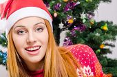 pic of merry chrismas  - Girl in front of Christmas tree - JPG