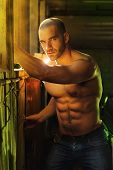 image of garage  - Super sexy shirtless muscular macho man - JPG
