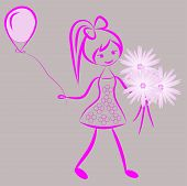 stock photo of quirk  - Silhouette of a girl with a bouquet of flowers and a balloon - JPG