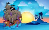 Pirate ship near small island 2 - eps10 vector illustration.