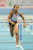 GOTHENBURG, SWEDEN - MARCH 1  Reina-Flor Okori (France)  places 7th in heat 3 of the women's 60m hur