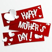 pic of mums  - Creative Happy Mother s Day Card with Hearts On Ribbons vector illustration - JPG
