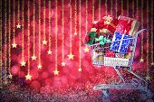 foto of boxing day  - Christmas shopping cart with gifts - JPG