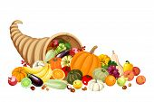 picture of horn plenty  - Vector autumn cornucopia with various fruits and vegetables isolated on white - JPG