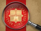 stock photo of disadvantage  - Magnifying Glass with SWOT Analisis Written Arround Icon on Old Paper with Red Vertical Line Background - JPG
