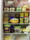 pic of refrigerator  - Refrigerator inside full of assorted food ingredients - JPG