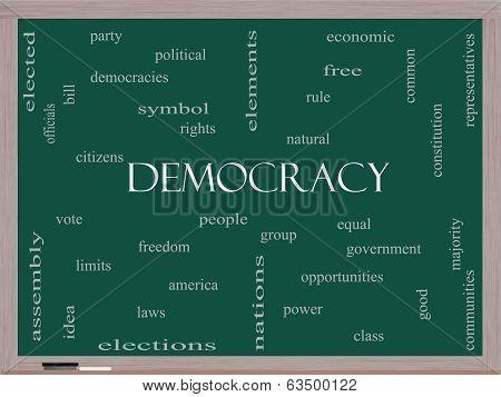 Democracy Word Cloud Concept On A Blackboard