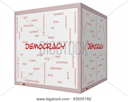 Democracy Word Cloud Concept On A 3D Cube Whiteboard