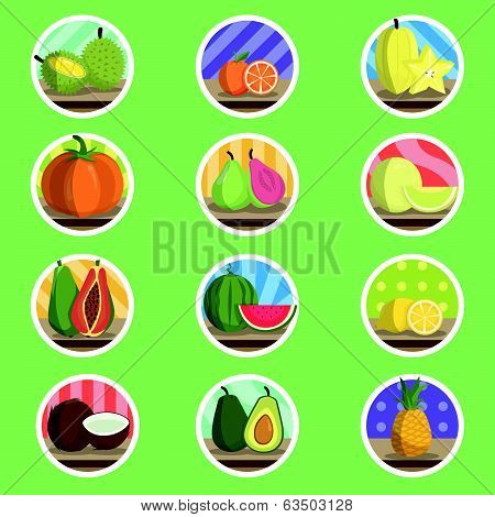 Tropical Fruit Flat Icon