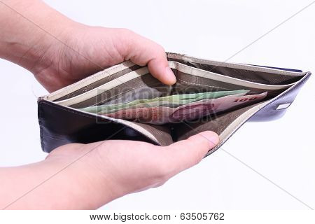 Male Hands Is Opening A Billfold