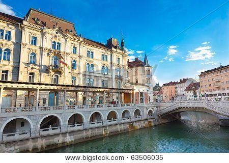 Triple bridge, Ljubljana, Slovenia, Europe.