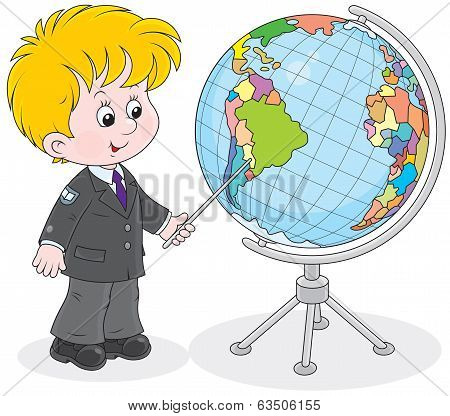 Schoolboy and globe