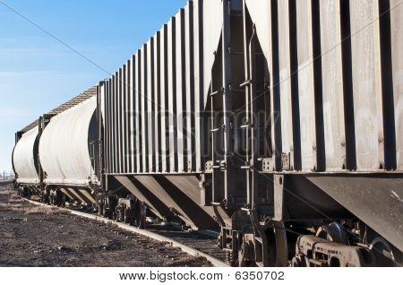 Empty Railcars Sitting On A Rail Siding