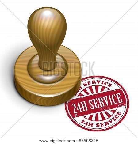 24H Service Grunge Rubber Stamp