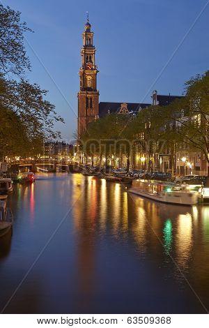 Amsterdam - Westerkerk (west Church) In The Evening