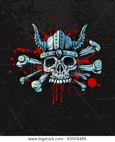 bloody skull in helmet with horns and bones. Rasterized illustration.