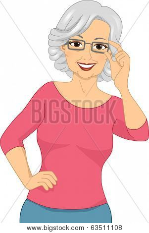 Illustration of an Elderly Woman Wearing a Pair of Eyeglasses