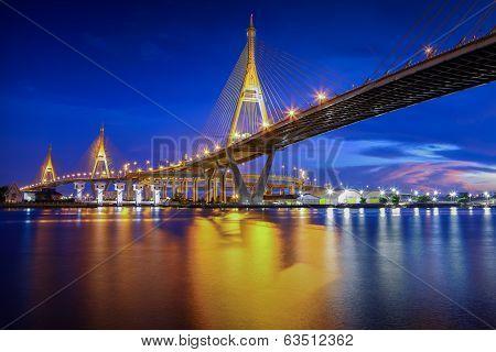 The Bhumibol Bridge At Twilight