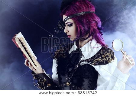 Girl in a stylized steampunk costume reading the old book. Anime.