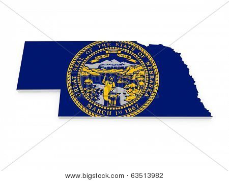 Three-dimensional map of Nebraska. USA. 3d