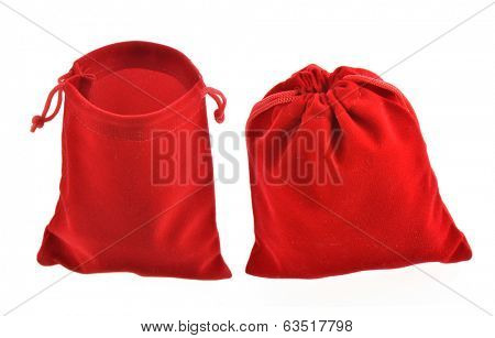 Red drawstring bag packaging isolated over white background