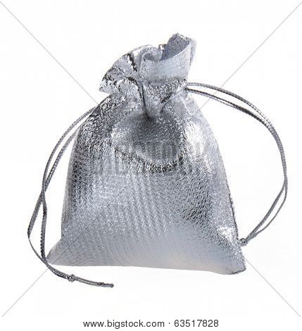 Small silver bag. Isolated on white.