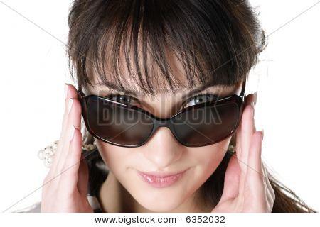 Closeup Portrait Of Beautiful Brunettte In Sunglasses