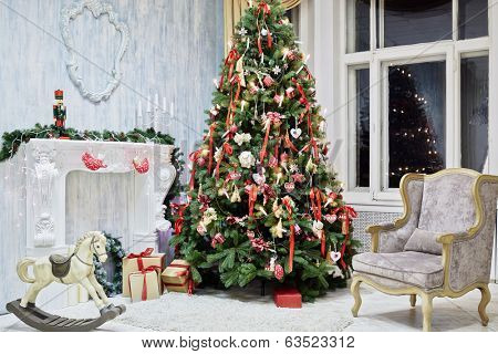Room decorated to christmas celebration, shot was taken in public rented studio
