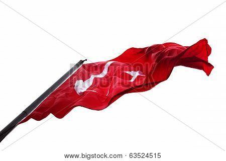 Waving Flag Of Turkey Isolated On White Background