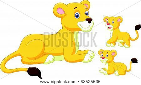 Lioness and cubs cartoon