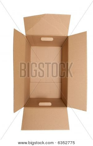 View Looking Down Into A Brown Cardboard Box