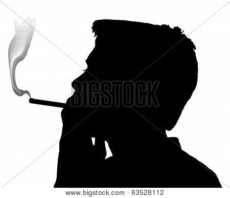 Teen Boy Silhouette Smoking Cigarette