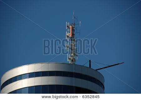 antenna on roof of the building