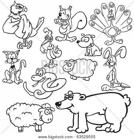 animals black and white cartoon illustration set