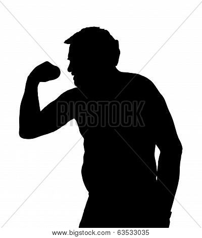 Man Silhouette With Potbelly Exercising With Dumbbell