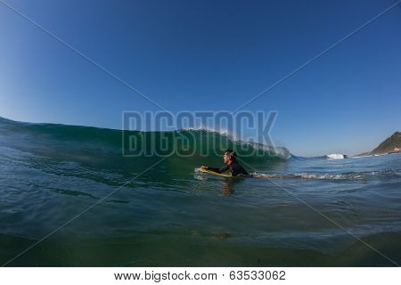 Surfing Body-Boarder Wave Ocean