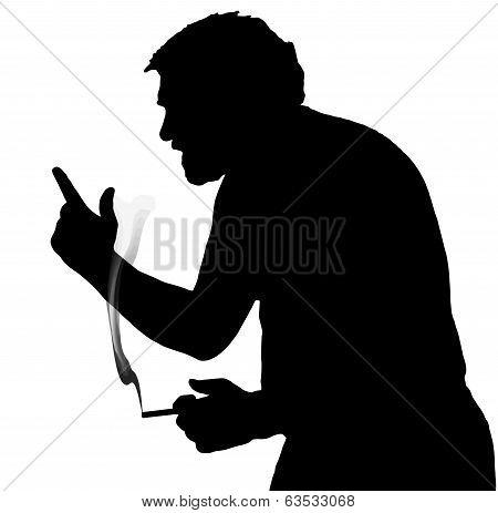 Man Silhouette Arguing Stubby European Smoking A Cigarette