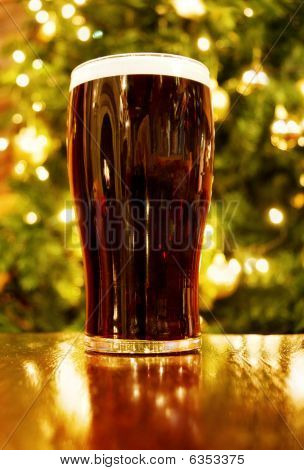 Irish Christmas with pint of black beer