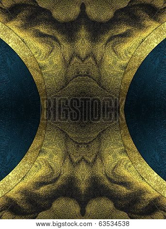 Abstract Dark Yellow Background With Blue Notches On The Edges