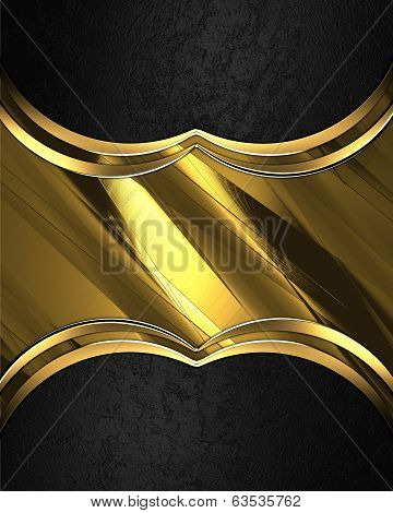 Design Template - Black Background With Gold Plate For Text