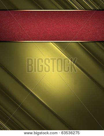 Elegant Gold Abstract Background And Red Nameplate.