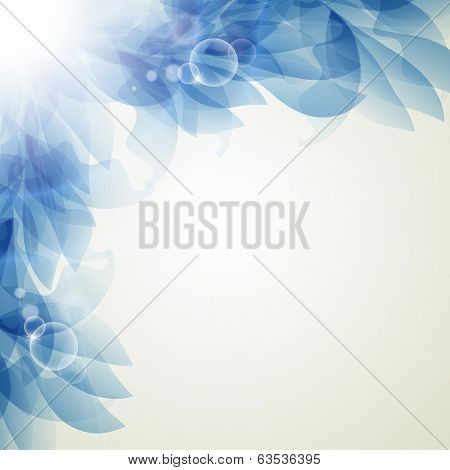 Abstract artistic Background with blue floral element