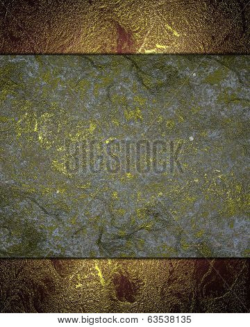 Abstract Grunge Gold Texture With Grey Nameplate.
