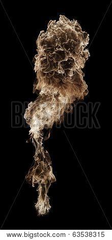Yellow fire ball, flame blast, black background