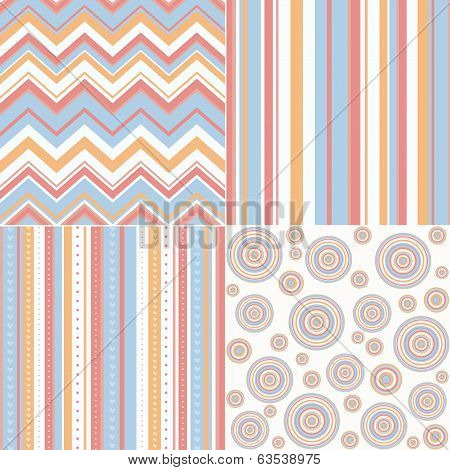 Set Of Four Different Retro Seamless Pattern